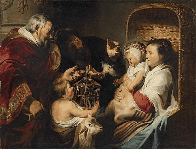 JACOB JORDAENS, THE HOLY FAMILY WITH THE INFANT SAINT JOHN AND HIS PARENTS, oil on canvas (relined), 112.5 x 148 cm