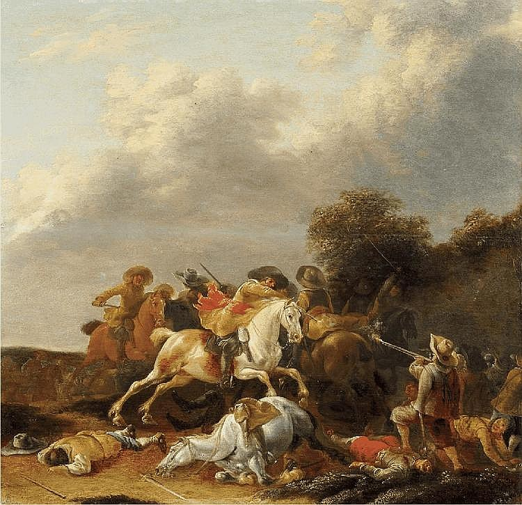 PALAMEDES PALAMEDESZ., A CAVALRY SKIRMISH, oil on panel, 31.5 x 32.5 cm