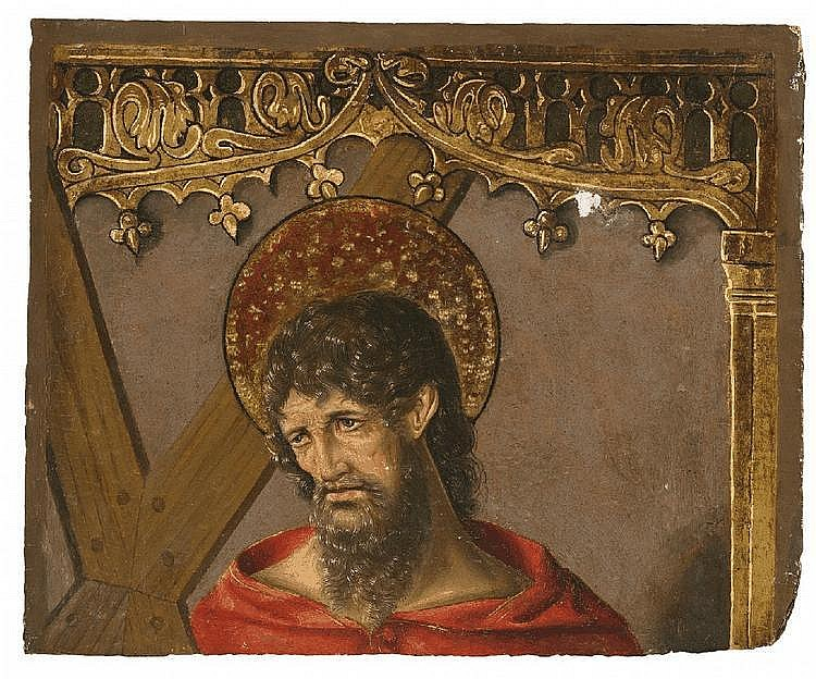 SPANISH SCHOOL, second half 15th Century, SAINT ANDREW, oil on panel, 38 x 46 cm