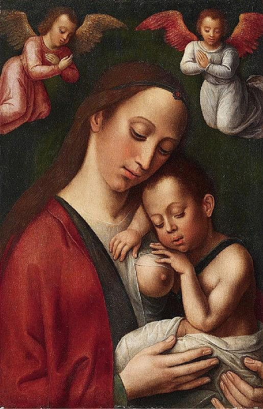 HISPANO-FLEMISH SCHOOL, 16th Century, THE VIRGIN WITH CHILD AND ANGELS, oil on panel, 51.5 x 33 cm