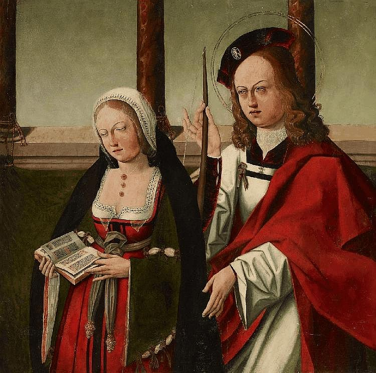 NORTH ITALIAN SCHOOL(?) around 1500, DONOR WITH SAINT, oil on panel, 76 x 77 cm