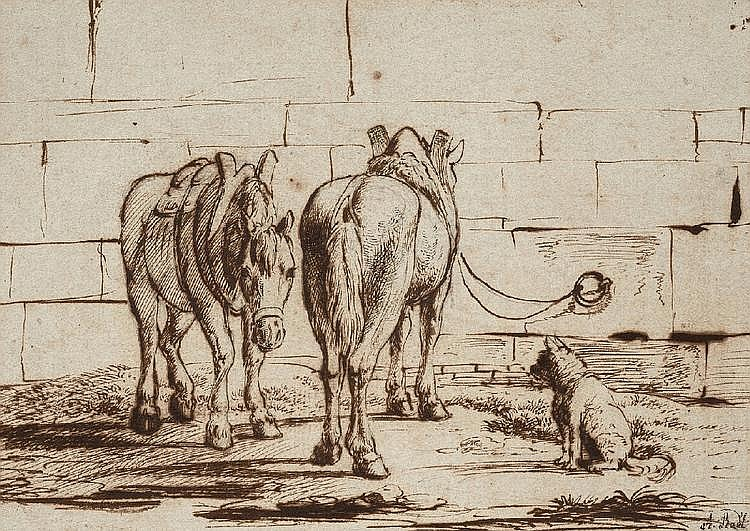 ANTON RADL, TWO SETTLED HORSES AND A DOG, Pen and brown and black ink, 16.5 x 22 cm