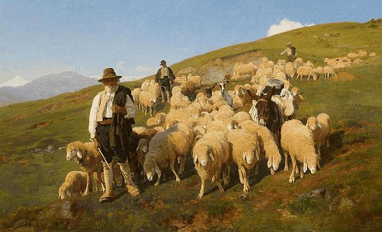 ITALIAN SCHOOL, 19th Century, THREE SHEPHERDS WITH SHEEP AND A MULE, oil on canvas (relined), 98 x 159 cm