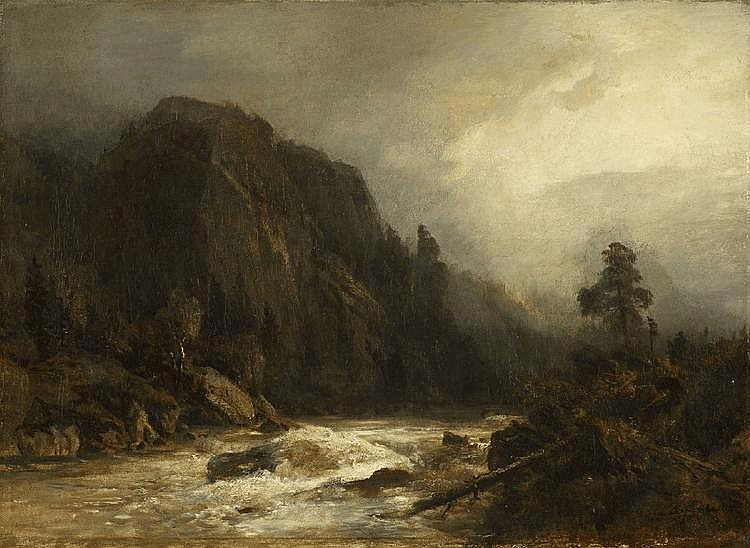 ANDREAS ACHENBACH, MOUNTAIN LANDSCAPE WITH TORRENT, oil on canvas, 48 x 66 cm