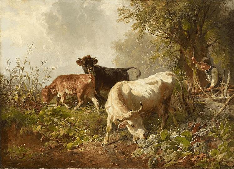 ANTON BRAITH, SHEPHERD BOY AND CATTLE, oil on canvas (relined), 46 x 63 cm