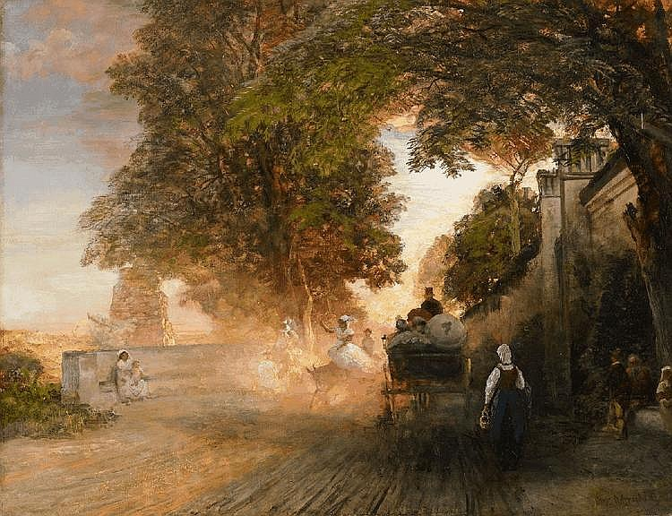 OSWALD ACHENBACH, THE VIGNA BARBERINI ON THE PALATIN IN THE EVENING, oil on canvas, 78 x 101 cm
