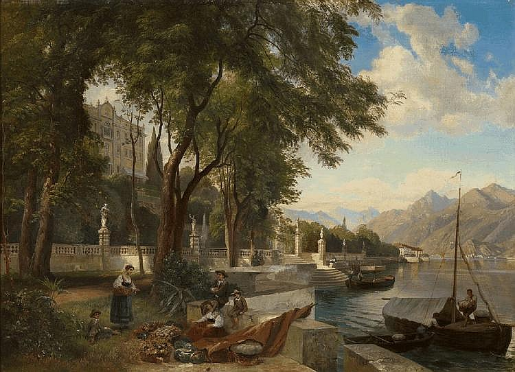 CARL HUMMEL, VILLA CARLOTTA NEAR LAKE COMO, oil on canvas, mounted on wood, 77 x 104.5 cm