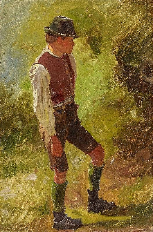 FRANZ VON DEFREGGER, SHEPHERD BOY, oil on cardboard, 23 x 15 cm
