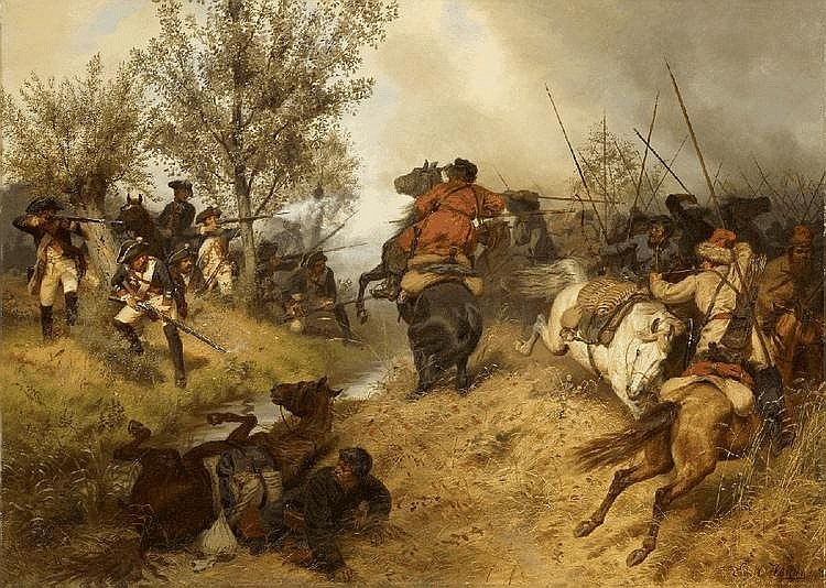 EMIL HÜNTEN, A SKIRMISH BETWEEN PRUSSIAN INFANTRY AND COSACKS IN THE BATTLE OF ZORNDORF 1758, oil on canvas, 78.5 x 110.5 cm