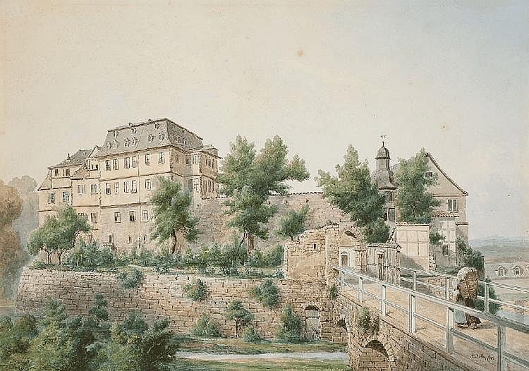 AUGUST FRIEDRICH WILHELM NOTHNAGEL, VIEW OF EBELEBEN CASTLE, Watercolour, 28 x 40 cm
