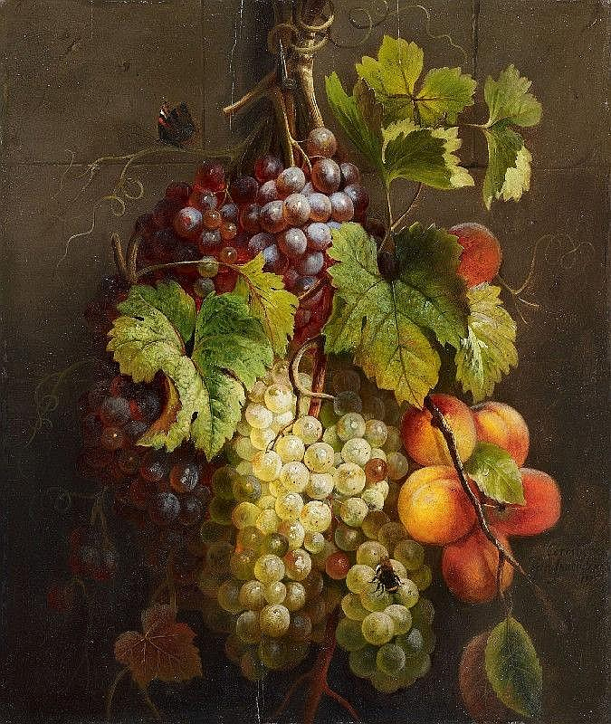 CORNELIS VAN SPAENDONCK, FRUIT STILL LIFE, oil on panel, 51.5 x 44 cm