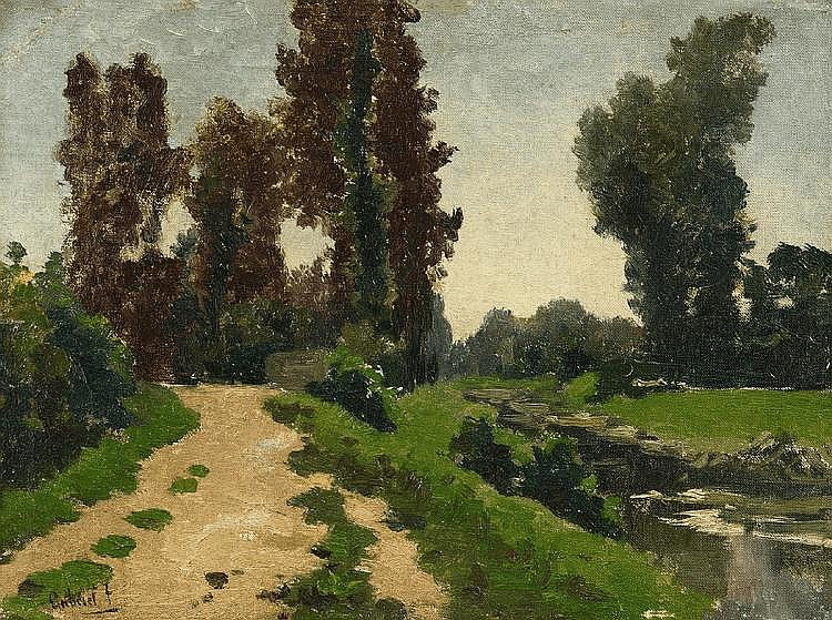 PAUL JOSEPH CONSTANTIN GABRIEL, VIEW OF A PARK WITH A STREAM, oil on canvas, mounted on wood, 31.5 x 42 cm
