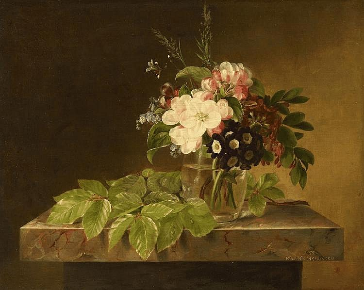 HANNE HELLESEN, FLOWERS IN A GLASS VASE ON A MARBLE TABLE, oil on canvas (relined), 34.5 x 39 cm