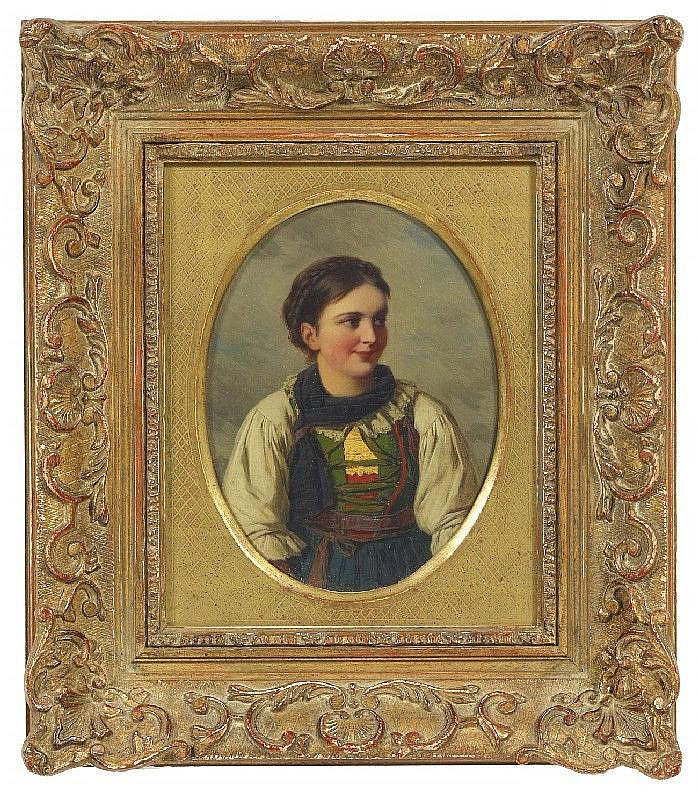 FRANZ VON DEFREGGER, TYROLEAN DIRNDL, oil on canvas, mounted on cardboard, 18 x 13 cm (oval)