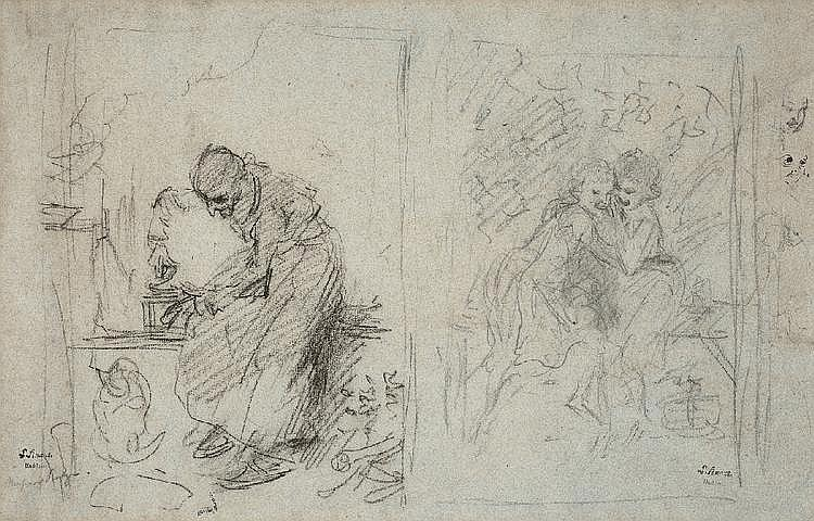 LUDWIG KNAUS, TWO SKETCHES FOR PAINTINGS, Black chalk on toned paper, 30.5 x 47 cm