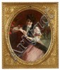 ALBERT VON KELLER, PORTRAIT OF A LADY WITH A FUR STOLE, oil on canvas, 111.5 x 89.5 cm (oval)