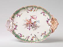 A KPM porcelain tray with putti.  W 41.5 cm.