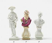 Two KPM porcelain figural busts.  H 11.5 cm.
