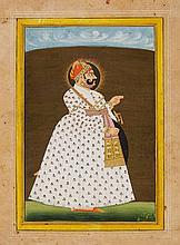 A Rajasthani portrait of Maharaja Madho Singhji of Jodhpur. 19th century
