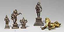 Three small South Indian bronze figures. 16th to 19th century
