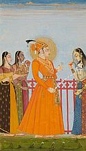 A Rajasthani painting of a prince. Kishangarh. Last quarter 18th century