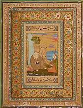 A Mughal style album leaf. 18th century