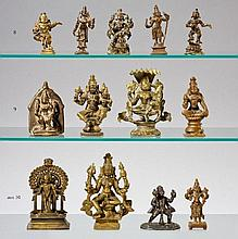 Four Indian bronze figures and altar. 17th-20th century