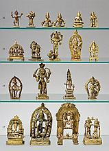 A group of ten Indian brass deities. 18th/20th century