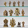 Five Indian brass deities. 17 th/20th century