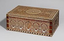 A large Hoshiarpur shisham wood cosmetic box. Northern India. Late 19th century