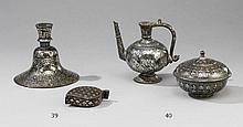 A Bidri pitcher and a round box. 19th century