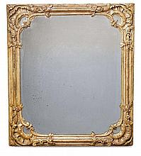 A silvered carved softwood Potsdam mirror