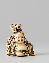 A superb Kyoto school ivory netsuke of Hotei with two karako, by Okatomo. Late 18th century