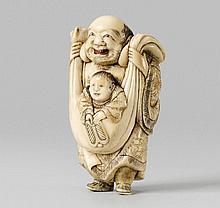 A massive ivory netsuke of Hotei with a karako, by Masamori. Late 18th century