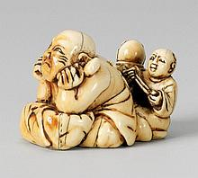A large and amusing ivory netsuke of Hotei. 18th century