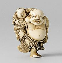 An ivory netsuke of a laughing Hotei. Early 19th century