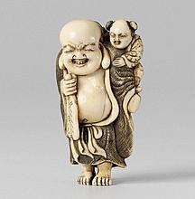 An ivory netsuke of a chubby Hotei. Early 19th century