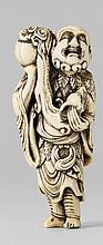 An ivory netsuke of Chinnan Sennin. Late 18th century