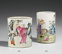 A famille rose brushpot. 19th/20th century