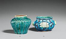 A turquoise-glazed vertically ribbed buff pottery jar. Ming dynasty, 16th/17th century