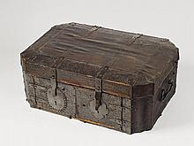 A large leather-covered wooden casket for a