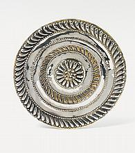 A Nuremberg silver partially gilt platter. Marks