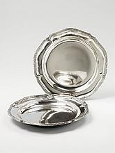 A pair of German silver deep platters. With
