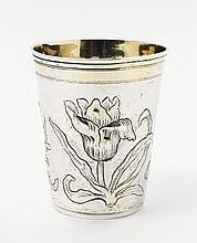 A Hamburg silver partially gilt beaker. Marks of