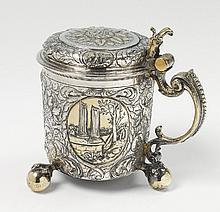 A Riga silver partially gilt lidded tankard,