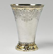 A large Stockholm silver partially gilt beaker.