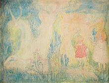 Johan Thorn Prikker, Figürliche Szene. Verso mit Bleistiftskizze einer Mutter und Kind-Gruppe, Circa 1890