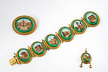 An 18 ct gold, malachite and coloured glass Roman
