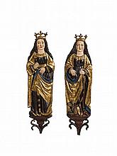 Two Swabian figures of Saint Catherine and Saint Margaret, first half 16th century