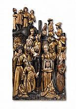 A Saxon carved wood Calvary group, circa 1500/1510